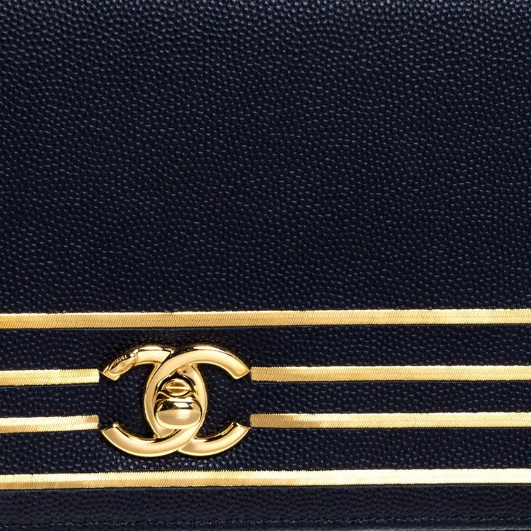 Chanel Navy Blue Caviar Leather Captain Gold Clutch 7