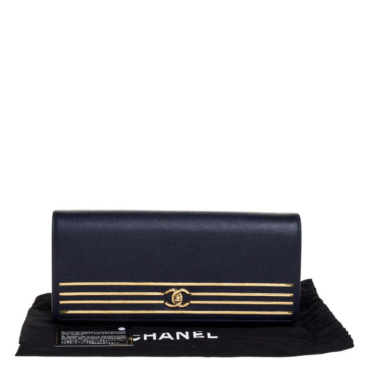 Chanel Navy Blue Caviar Leather Captain Gold Clutch 8