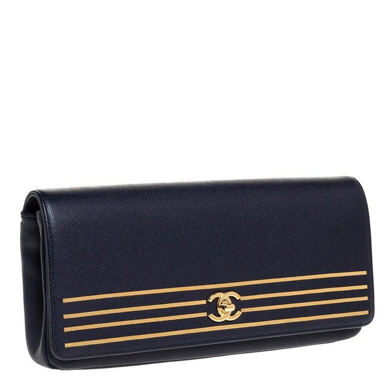 Women's Chanel Navy Blue Caviar Leather Captain Gold Clutch