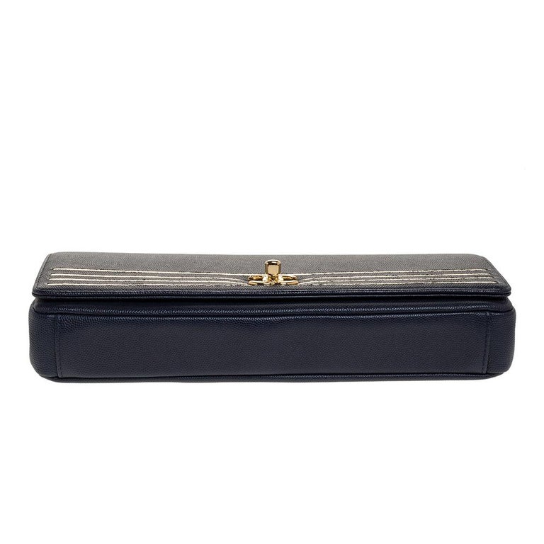 Chanel Navy Blue Caviar Leather Captain Gold Clutch 1