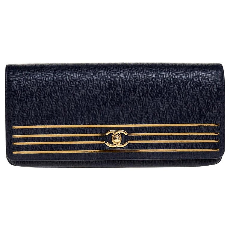 Chanel Navy Blue Caviar Leather Captain Gold Clutch