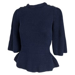 Chanel Navy Blue Chunky Knit Fitted Waist Peplum Sweater