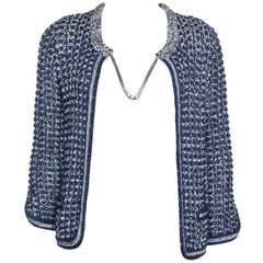 Chanel Navy Blue Crochet Knit Neck Chain Detail Jacket M