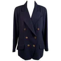 Chanel Navy Blue Double Breasted Blazer Jacket CC Buttons