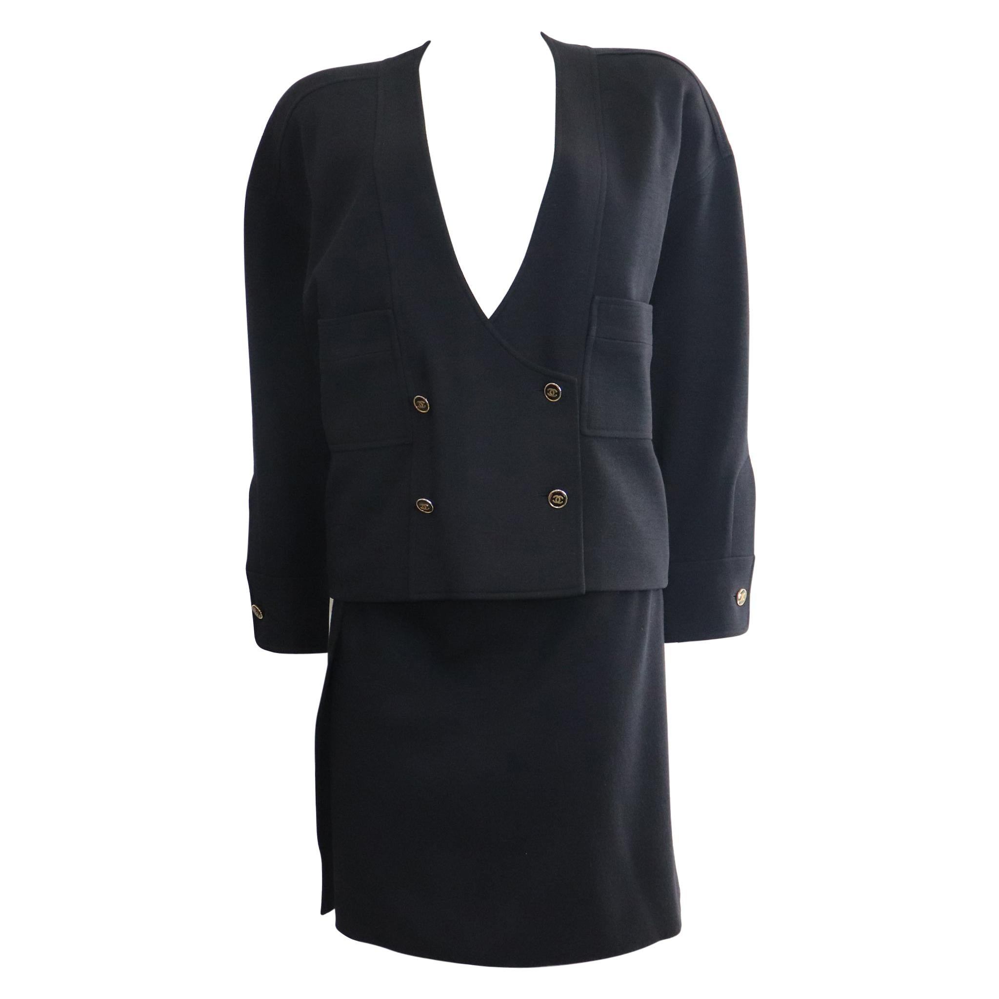 Chanel Navy Blue Double Knit Jacket & Skirt Set w/ Logo Buttons Circa 1990s