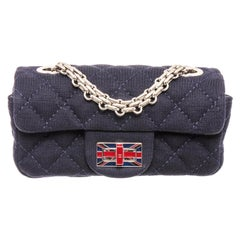 Chanel Navy Blue Fabric Mini Union Jack Flap Bag