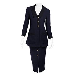 Chanel Navy Blue FW 1993 Boucle Wool Skirt Suit Set