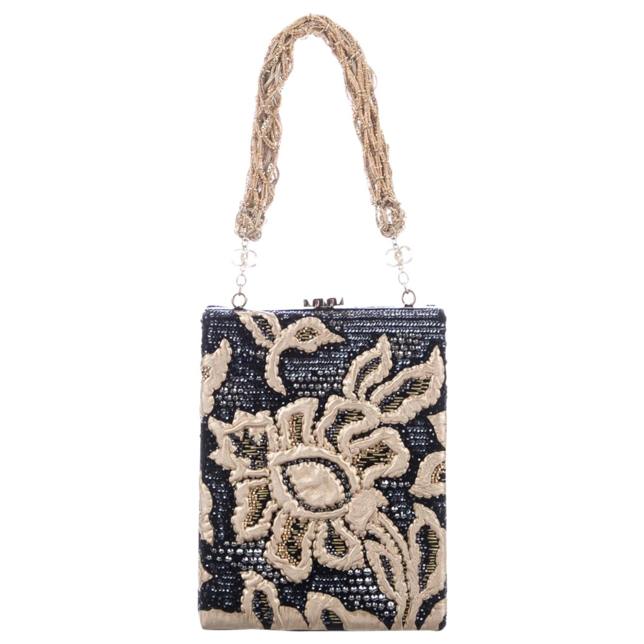 Chanel Navy Blue Gold Satin Embroidery Leather Top Handle Evening Shoulder Bag