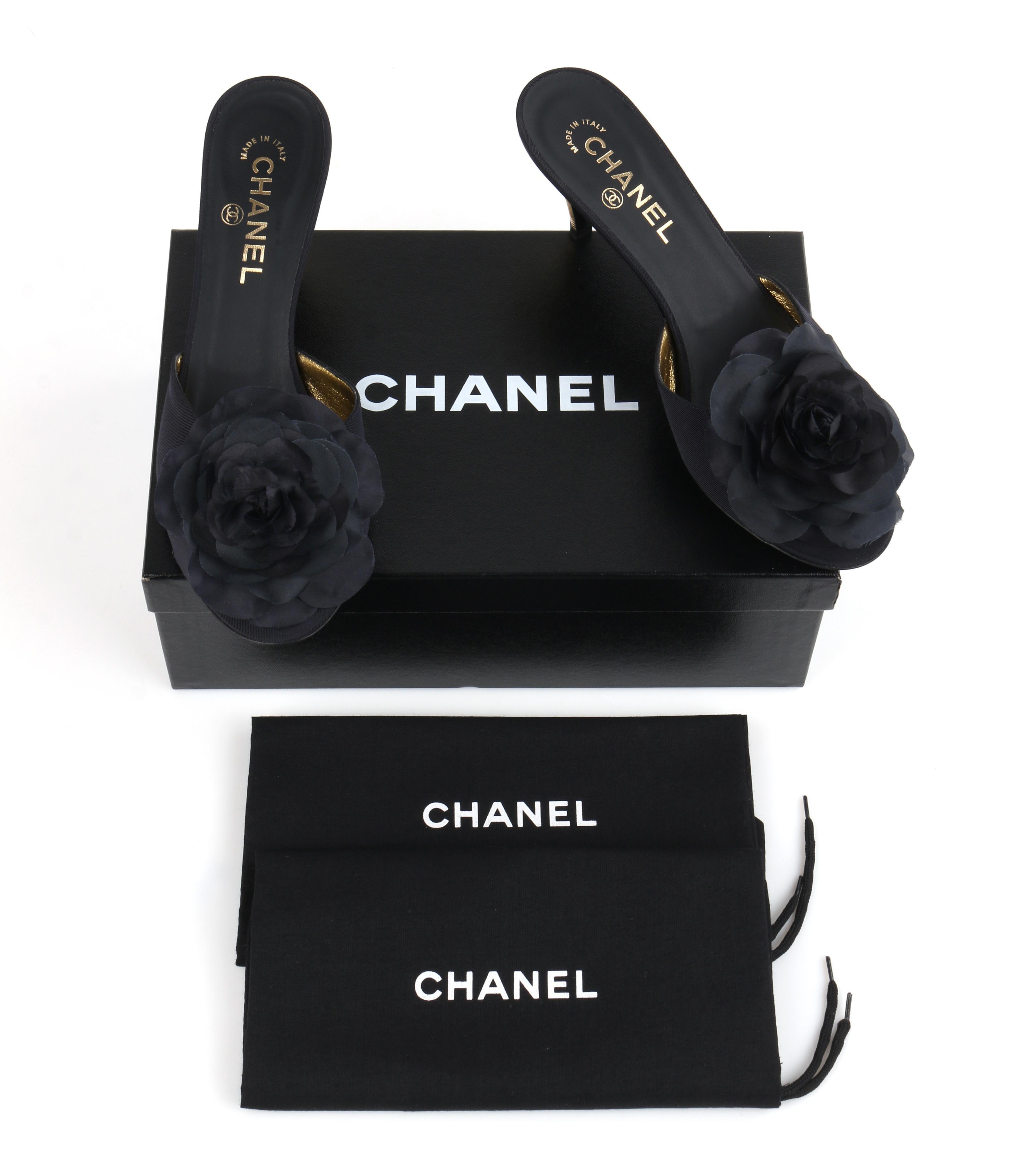 8ad75148bd CHANEL Navy Blue Grosgrain Camellia Gold Kitten Heels Mules Slides NIB For  Sale at 1stdibs
