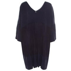 Chanel Navy Blue Knit Back Tie Detail Pleated Oversized Dress M