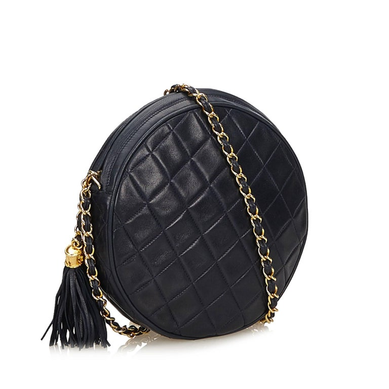 This Shoulder Bag Features Lambskin Leather Body Gold Tone Chain Strap With Tassel Detail