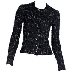 Chanel Navy Blue Metallic Tweed Jacket