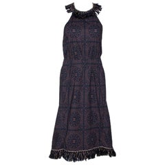 Chanel Navy Blue Monogram Print Cotton Fringed Halter Dress S
