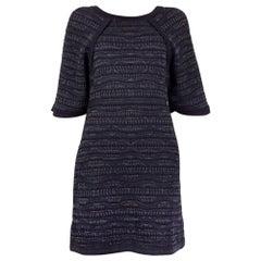 CHANEL navy blue & multi PARIS - SEOUL Cruise 2016 Knit Dress 34