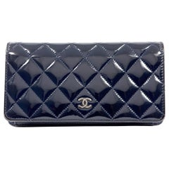 Chanel Navy Blue Patent Leather Wallet