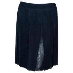 Chanel Navy Blue Pleated Silk Chiffon Slightly Frayed at Hem 40