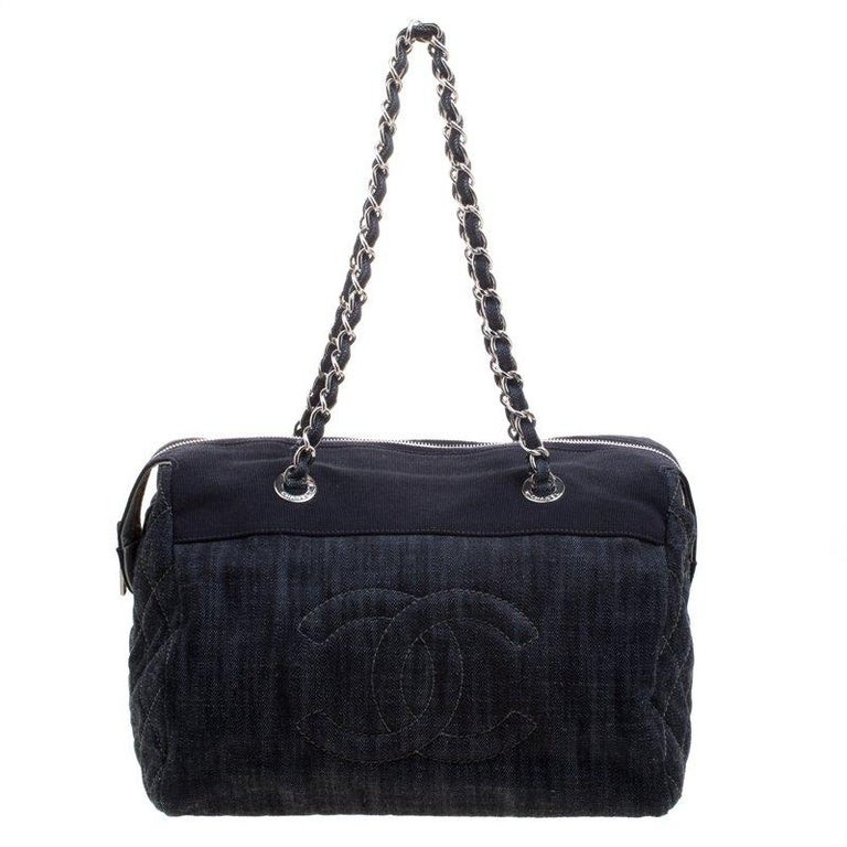 Chanel Navy Blue Quilted Denim CC Bowling Bag For Sale at 1stdibs c4859c43b2