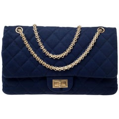 Chanel Navy Blue Quilted Jersey Reissue 2.55 Classic 227 Flap Bag