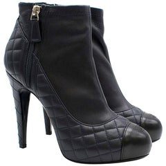 Chanel Navy Blue Quilted Leather Ankle Boots SIZE 38