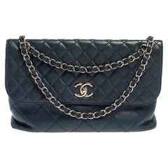Chanel Navy Blue Quilted Leather In-The-Business Flap Bag