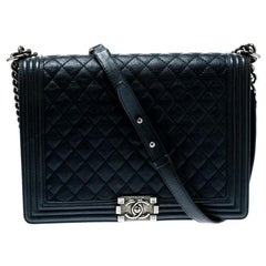 Chanel Navy Blue Quilted Leather Large Boy Flap Bag