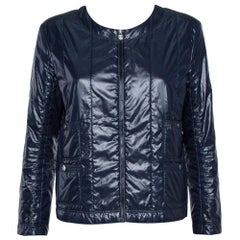 Chanel Navy Blue Quilted Zip Front Jacket L