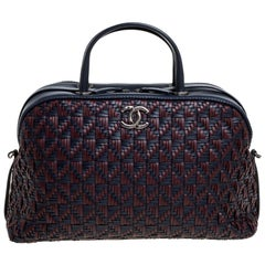 Chanel Navy Blue/Red Woven Leather Bowler Bag