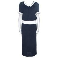Chanel Navy Blue Rib Knit Contrast Trim Detail Midi Dress M
