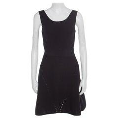 Chanel Navy Blue Ribbed Knit Sleeveless Flared Dress S