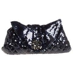 Chanel Navy Blue Sequins CC Half Moon Clutch