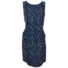 Chanel Navy Blue Sleeveless Tweed Dress Trimmed W/Ivory, Blue and Black Ribbons