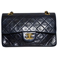 Chanel Navy Blue Small Flap Bag With Gold Tone Hardware