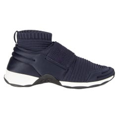 CHANEL navy blue STRETCH KNIT SOCK SPEED Sneakers Shoes 39.5