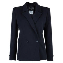 Chanel Navy Blue Tailored Blazer M