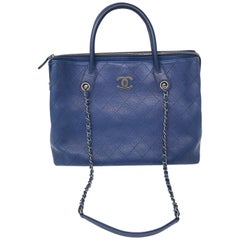Chanel Navy Blue Tote Bag