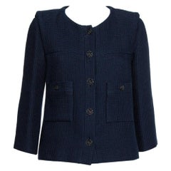 Chanel Navy Blue Tweed Button Front Jacket L