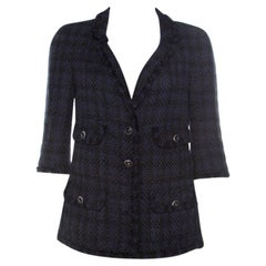 Chanel Navy Blue Tweed Contrast Boucle Trim Classic Blazer M