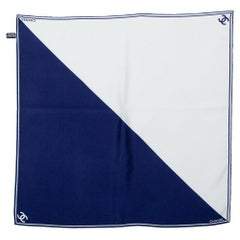 Chanel Navy Blue & White Logo Silk Square Scarf