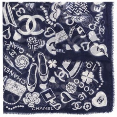Chanel Navy Cashmere Motif Print Scarf