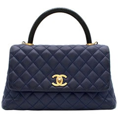 Chanel Navy Caviar Leather Lizard Embossed Top Handle Flap Bag