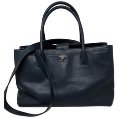Chanel Navy Cerf Executive Shopper Tote