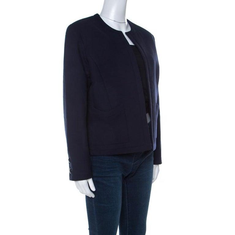 Chanel Navy Cotton Blend Textured Jacket L In Good Condition For Sale In Dubai, Al Qouz 2