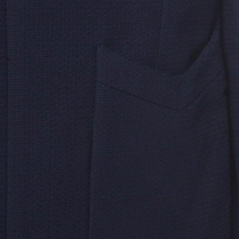 Women's Chanel Navy Cotton Blend Textured Jacket L For Sale