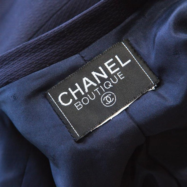 Chanel Navy Cotton Blend Textured Jacket L For Sale 1
