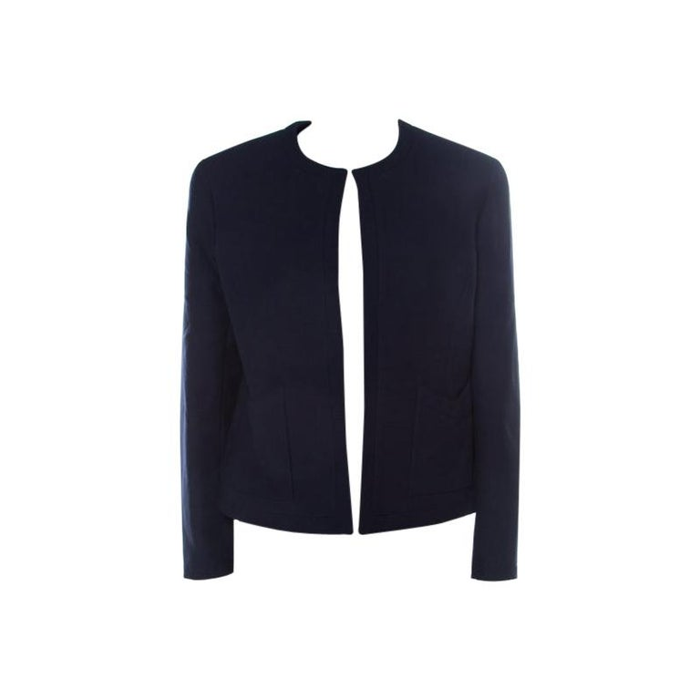 Chanel Navy Cotton Blend Textured Jacket L For Sale