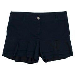 Chanel Navy Cotton Mid-rise Frilled Shorts - Size US 4