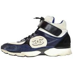 Chanel Navy/Cream Hi Top Men's Sneakers W/ CC Logo Sz 42
