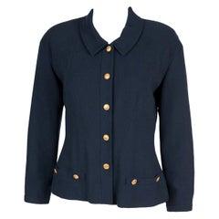 Chanel Navy Crepe Wool Jacket