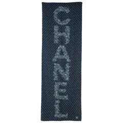 Chanel Navy Diamond Leaf Print Silk Shawl