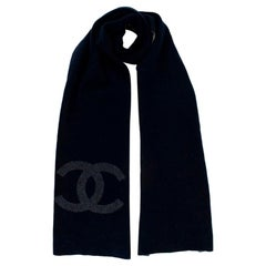 Chanel Navy & Grey Cashmere Knit CC Scarf
